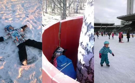 Lapset talvella Helsingissä