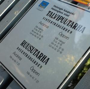 Talvipuutarhan aukioloajat Helsinki